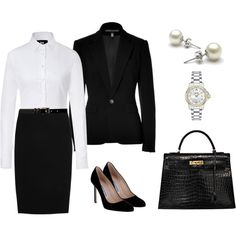 Message: power, control, authority  How to achieve:    High contrast outfits like black matching suit with a crisp, white shirt for example.  Controlled hair style  Neutral make-up  Expensive looking accessories