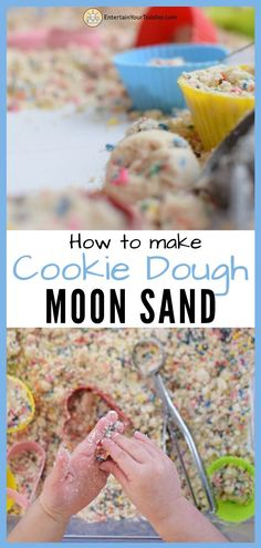 So fun! Learn how to make this Cookie Dough Moon Sand (aka cloud dough) that I made for my daughter! It uses all kitchen Sensory Activities Toddlers, Rainy Day Activities, Indoor Activities For Kids, Infant Activities, Family Activities, Outdoor Activities, Edible Sensory Play, Sensory Bins, Sensory Play Recipes