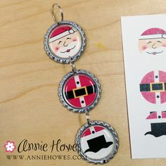 Blog update: Free Tutorial for making adorable bottle cap Christmas decorations from Annie Howes  www.anniehowes.com