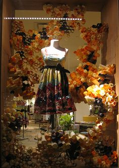 window and interior displays at Anthropologie