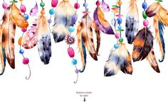 Watercolor Feathers With Ribbons,shells,beads,strings Of Pearls Stock Illustration - Illustration of decorative, color: 65925917 Watercolor Feather, Feather Painting, Feather Art, Watercolor Print, Watercolor Illustration, Cover Pics For Facebook, Facebook Cover Photos Creative, Fb Cover Photos Unique, Facebook Timeline