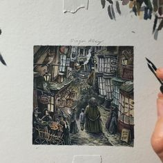 """8,348 Likes, 116 Comments - Lily Seika Jones (@rivuletpaper) on Instagram: """"Custom 3x3"""" painting of """"Diagon Alley"""" for Rebecca. I was so thrilled to receive this request…"""""""