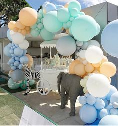 The pastel colours used here are the perfect scheme for a little one, but refined that it would suit any occasion. The animals scattered throughout this party bring the whole style together. Balloon Garland, Balloon Decorations, Birthday Decorations, Birthday Party Themes, Balloon Arch, Baby Shower Parties, Baby Shower Themes, Baby Boy Shower, Baby Shower Decorations