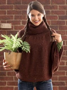Satisfy your need to complete a large-scale project with the Charming Chestnut Poncho. This knit poncho pattern is an effortlessly elegant garment as well as the perfect knit to gracefully transition into fall weather.