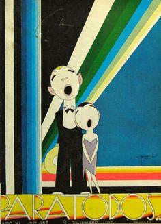 * Couverture du magazine brésilien PARA TODOS novembre 1930 - José Carlos de Brito e Cunha, connu comme J Carlos (1884 - 1950) dessinateur, illustrateur et graphiste brésilien considéré comme l'un des plus grands représentants du style art déco en design graphique brésilien.