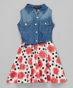 Red & Denim Floral Shirt Dress - Girls #zulily #zulilyfinds