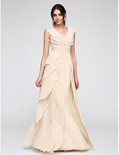 Sheath / Column V-neck Floor Length Chiffon Prom Formal Evening Dress with Ruching by TS Couture®