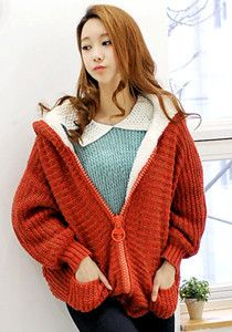 Sale: Knitted Hoodie with Giant Zipper @ $79 SGD only! (Available in: Beige, Black, Orange)