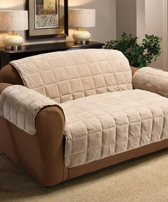 This Cream Plush Loveseat Furniture Protector by Jeffrey Fabrics is perfect! #zulilyfinds