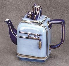 Refrigerator Teapot Cobalt Blue Porcelain