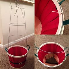 How to Make Inexpensive Indoor/Outdoor Topiary Trees ( Tomato Cage & Garland ) Select images below for close-up details of each step