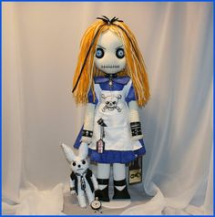 OOAK Alice in Wonderland Inspired Hand Stitched Rag Doll Creepy Gothic Outsider Art by Jodi Cain $ 225 aUD 22 inches tall