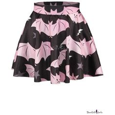 Pink Bat Print Elastic Waist Flared Mini Skirt ❤ liked on Polyvore featuring skirts, mini skirts, patterned skirts, flared mini skirt, patterned mini skirt, print mini skirt and mini flare skirt