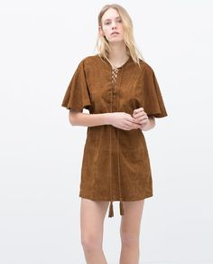 Image 1 of BRAIDED SUEDE DRESS from Zara