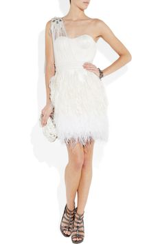 Gojee - Feather-Trimmed SIlk-Tulle Dress by Matthew Williamson