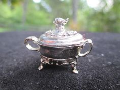 Dollhouse Miniatures ~ Sterling Silver Eugene Kupjack Footed Dish w/ Bird Finial