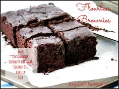 Dense and gooey Flourless Brownies (seriously - the only flour is cocoa powder - eureka!) that don't use any refined sugars! These are my new go-to brownie recipe for sure via Homemade Mommy