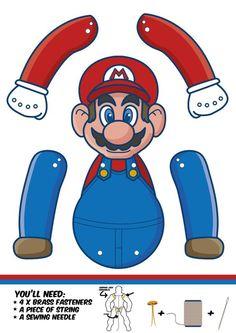 Nintendos legendariska spel Super Mario Bros. fyller 30 år. Det firar jag med två jumping jacks. Super Mario och hans bror Luigi. Det är bara att ladda ner, skriva ut, klippa ut och sätta ihop.: