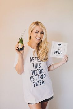 As seen on Green Wedding Shoes! https://greenweddingshoes.com/a-handmade-black-white-wedding/ Created for my own wedding bridal party to get ready in, these custom bridesmaid shirts are a fresh twist on the traditional robe. Theyre a hit! Perfect gift for your bridesmaids and yourself -