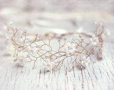Hair accessories Bridal hair accessories White flower crown Gold tiara  Wedding hair accessories Circlet of flowers Fabric flowers 31 1fb4fb870bf1