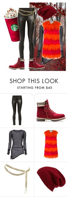 """red autumn"" by oriza-intani ❤ liked on Polyvore featuring J Brand, Timberland, MSGM, Chanel and Halogen"