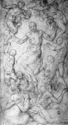 Якопо Понтормо. Рисунок Христа Судии и сотворения Евы. Около 1550. Уффици