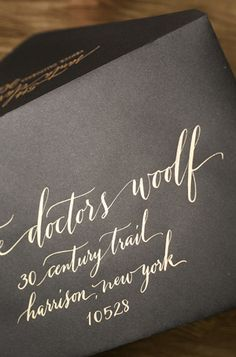 Calligraphy by Anne Robin | Oh So Beautiful Paper: Jaymie + Miles's Calligraphy Gold Foil Wedding Invitations