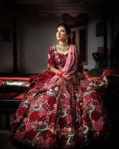 Totally in love with this maroon lehenga full of multicolour floral embroidery work and paired with a light pink dupatta. Perfect for both an intumate wedding and a traditional wedding both (C) Photo Tantra #wittyvows #intimatewedding #homewedding #brideandgroom #bridaloutfit #bridalmakeup #bridaljewellery #indianweddinginspiration #redlehenga #florallehenga #weddingideas #bridephotos Bridal Makeup Looks, Bridal Looks, Bridal Style, Floral Lehenga, Red Lehenga, Big Fat Indian Wedding, Indian Bridal, Wedding Story, Home Wedding