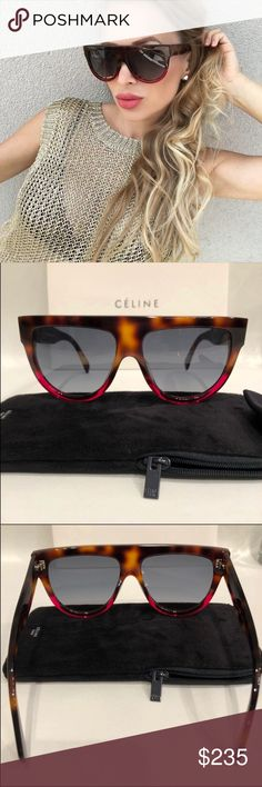 168988cf72 Celine Sunglasses Celine Shadow fuchsia Havana sunglasses New and  Authentic. Comes with Celine case and Celine cloth. Reasonable offers only.