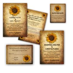 Rustic Sunflower Wedding Invitations.