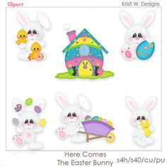 VISIT www.clipart-central.com AND USE COUPON CODE 219401fc79 FOR 25% OFF YOUR FIRST ORDER! HERE COMES THE EASTER BUNNY IS A DIGITAL CLIPART SET.