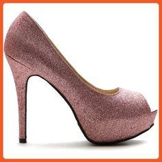 Ollio Women's Shoe Glitter Stiletto Platform Peep Toe High Heel Pump (8 B(M) US, Pink) - Pumps for women (*Amazon Partner-Link)