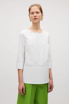COS image 7 of Stitch detailed cotton top in White