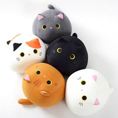 These adorable kitties are big, soft, and stretchy beanbag cushion plushies, meaning they're extra fun to squish and squeeze! Available in white, cha (brown), mike (calico), gray or black, each of these adorably round kitties have cute 3D ears, and a tail too! They seem kind of lonely though with their upward gaze, won't you take one home to cuddle?  They're equally good for hugging, resting on as... #plushie