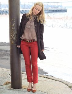 love the red jeans with the animal print belt