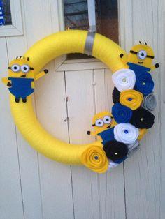 12 inch Minion Yarn Wreath by WreathsnWrappings on Etsy