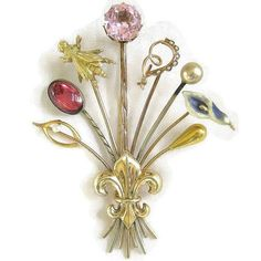Vintage Antique Victorian Edwardian 14k and 10k by MyVintageJewels Can't decide on 1 stickpin, this is for you!