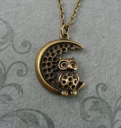 Owl Necklace Brass Owl Owl Jewelry Owl Pendant Owl and Silver Spoon Jewelry, Moon Jewelry, Silver Spoons, Sterling Silver Necklaces, Owl Necklace, Pendant Necklace, Owl Keychain, Owl Pendant, Girls Necklaces