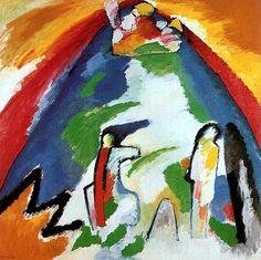 Wassily Kandinsky, Een berg, 1909, olieverf op doek, 109 x 109 cm, Städtische Galerie im Lenbachhaus, München