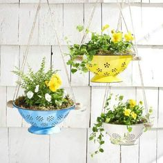 10 Incredibly Creative DIY Garden Planters Hang spring flowers in brightly colored colanders for an unexpected and truly unique way to update your porch. The post 10 Incredibly Creative DIY Garden Planters appeared first on Garden Easy. Diy Planters, Garden Planters, Planter Ideas, Patio Plants, Plants Indoor, Outdoor Planters, Balcony Garden, Flower Planters, Rustic Planters