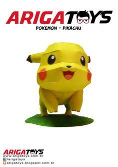 Papercraft Pikachu com 5 folhas para montagem + manual de instruções. Montado fica no tamanho de 15cm colocando base de isopor. Valor: R$ 10,00.