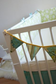 bunting on end of crib