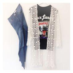 Faye Jeans, Black Sabbath Sabotage Tee, Penny Lane Crochet Duster. Shop @ Little-Lies.com