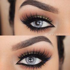 Fierce winged eyeliner and lush lashes