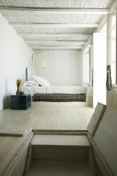 Located on the island of Tinos in the Cyclades (more famous nearby islands include Mykonos), the villa, which consists of two houses connected by a second-story veranda, was overhauled by Zege Architects for interior designer Marilyn Katsaris Home Interior, Interior Architecture, Interior And Exterior, Stairs Architecture, Indian Architecture, Interior Modern, Interior Doors, Attic Renovation, Attic Remodel