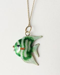 Guilloche Enamel Fish Pendant Vintage Gold Filled by BebeAndKay
