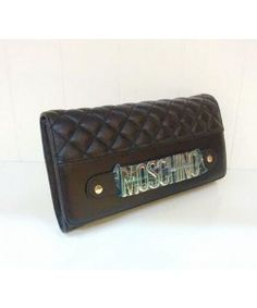 Moschino Women Quilting Leather Clutches Wallet Black