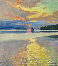 (ok, a lake painting) Akseli Gallen-Kallela (Finnish - Sunset Over Lake Ruovesi Landscape Art, Landscape Paintings, Sunset Landscape, Kunst Online, Nordic Art, European Paintings, Art History, Modern Art, Art Photography