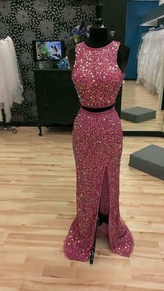2016 Custom Charming Two Pieces Prom Dress,Full Sequins Evening Dress,Sexy Slit Prom Dress