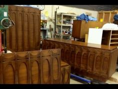Mid century solid walnut bedroom set, professionally restored-flawless condition